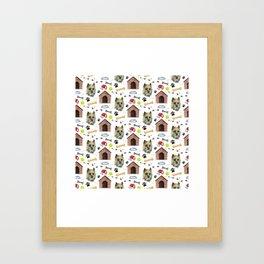 Cairn Terrier Face Half Drop Repeat Pattern Framed Art Print