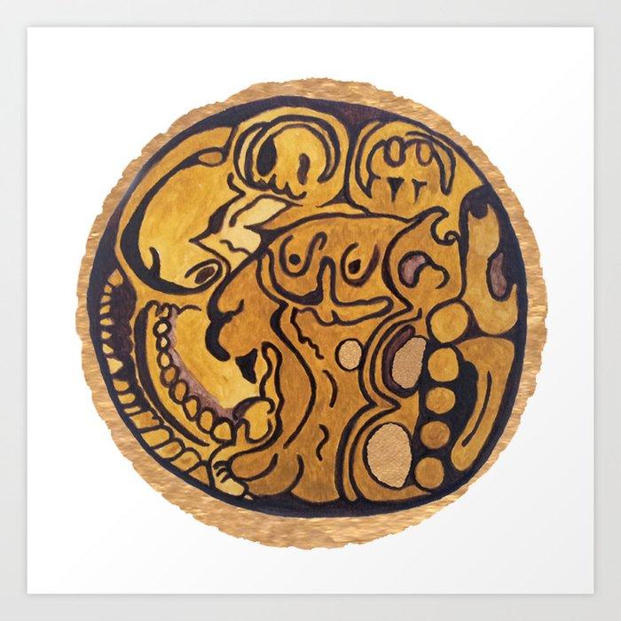 MAYAN JAGUAR COIN Art Print by dragonkukulcan