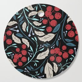 Holiday Holly and Mistletoe Pattern Cutting Board
