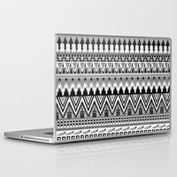 whisky Laptop & iPad Skins featuring WHISKY AZTEC B/W  by Kiley Victoria