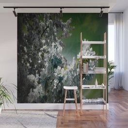Flowers Teal Green White Wall Mural