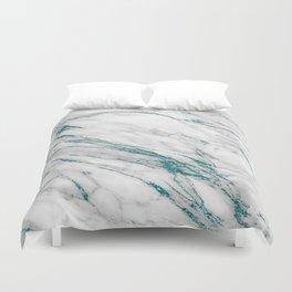 Gray Marble Aqua Teal Metallic Glitter Foil Style Duvet Cover