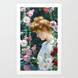 Charles Courtney Curran - Hollyhocks And Sunlight - Digital Remastered Edition Art Print