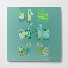 Fashion Cats - Green Palette Metal Print