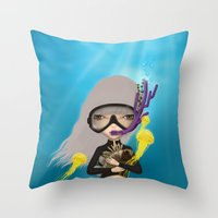 scuba Throw Pillows featuring scuba by Anne  Martwijit