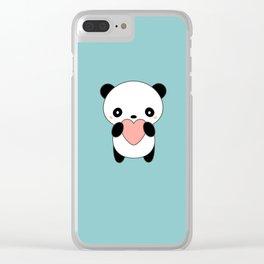 Kawaii Cute Panda Heart Clear iPhone Case