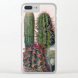 Vintage Cactus Print Clear iPhone Case