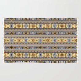 Southwest Tribal Pattern Design Gold Blue Gray Rug