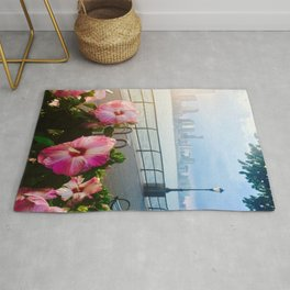 Battery Park New York City Skyline with Pink Hibiscus Flowers Rug