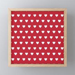 Polka Dot Hearts - red and white Framed Mini Art Print