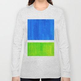Abstract Minimalist Mid Century Modern Watercolor Geometric Squares Rothko Lime Green Marine Blue Long Sleeve T-shirt