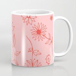 Sweet whirling flowerbed pattern - dark coral on rose Coffee Mug