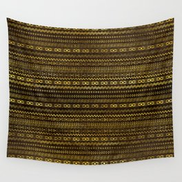 Golden Tribal Pattern on Dark wood Wall Tapestry