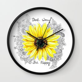 Don't Worry, Be Happy Sunflower Wall Clock