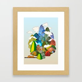 The ♥ is curved like a road through the mountains Framed Art Print