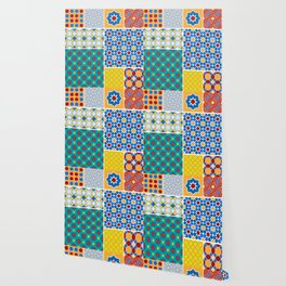 Moroccan pattern, Morocco. Patchwork mosaic with traditional folk geometric ornament. Tribal orienta Wallpaper