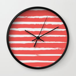 Irregular Hand Painted Stripes Coral Red Wall Clock
