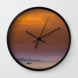 Yacht sailing towards Catalina Island Wall Clock