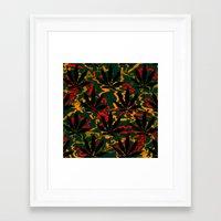 rasta Framed Art Prints featuring Rasta Leaves... by Cherie DeBevoise