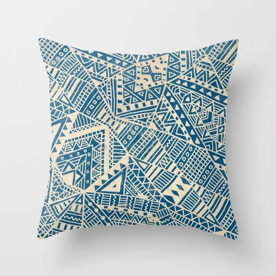 Tribal (blue)  Throw Pillow