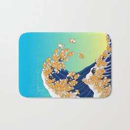 Shiba Inu in Great Wave Bath Mat