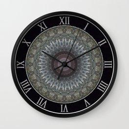 Mandala in grey and brown tones Wall Clock