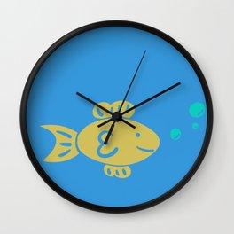 Goldfish on Blue Wall Clock