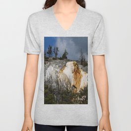 Mammoth Hot Spring Colors Unisex V-Neck