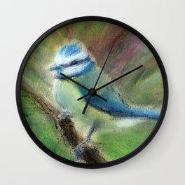 Cyanistes Caeruleus in Oil Pastels Wall Clock