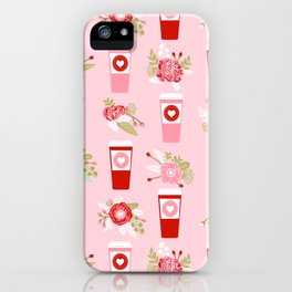 Coffee valentines day florals cute coffee lovers gifts that say i love you iPhone Case