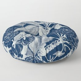 Floral, Roses, Vintage Print, Navy Blue Floor Pillow