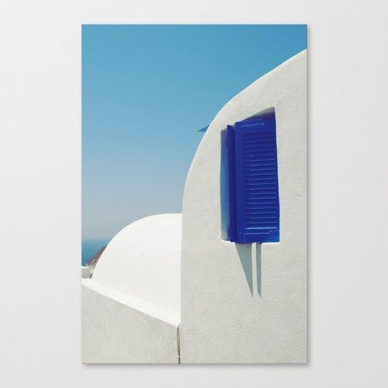 Santorini Blue & White Window Canvas Print