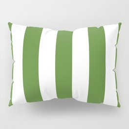 Sap green - solid color - white vertical lines pattern Pillow Sham