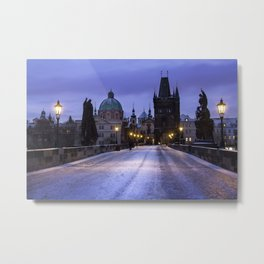 Winter and Snow at the Charles Bridge, Prague Metal Print