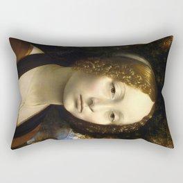 Ginevra de Benci by Leonardo da Vinci Rectangular Pillow