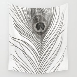 Black and White Peacock Feather Wall Tapestry
