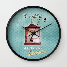 Vintage Coffee Poster: Ground with Love Wall Clock