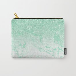 Modern faux mint glitter ombre mint turquoise marble Carry-All Pouch