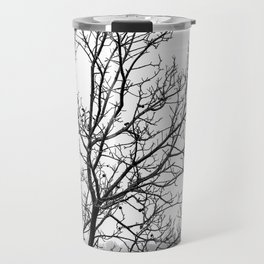 Black and white branches on a foggy morning Travel Mug