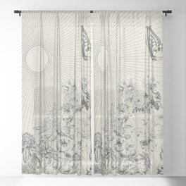 BUTTERFLY SUNSHINE Minimalist Modern and Vintage Illustration Design of a Monarch Wildflower Sun Ray Sheer Curtain