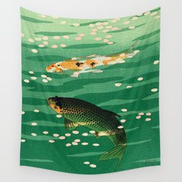 Vintage Japanese Woodblock Print Asian Art Koi Pond Fish Turquoise Green Water Cherry Blossom Wall Tapestry