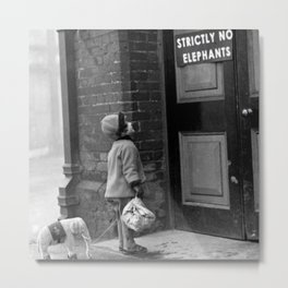 'Strictly No Elephants' vintage humorous child verses the world black and white photograph / black and white photography Metal Print