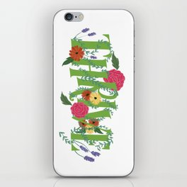 Floral Word Thrive in Midcentury Lettering iPhone Skin