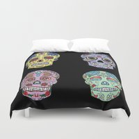 sugar skulls Duvet Covers featuring Sugar Skulls by katherinejago