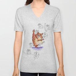 Hamster with Sketch Background Unisex V-Neck