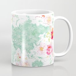 Mint green and hot pink watercolor world map with cities Coffee Mug