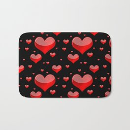 Hearts Red and Black Bath Mat