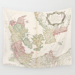 Vintage Map of Denmark (1750) Wall Tapestry