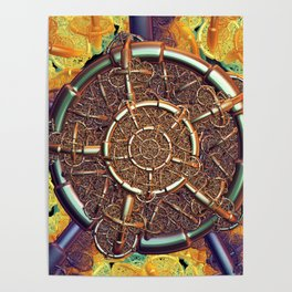 Golden metal abstract Poster