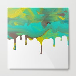 Mint Green Abstract Paint dripping Metal Print